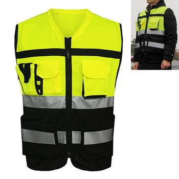 Professional Security Reflective Vest Pockets Design Reflective Vest High Visibility Safety Straps Outdoor Cycling Zip