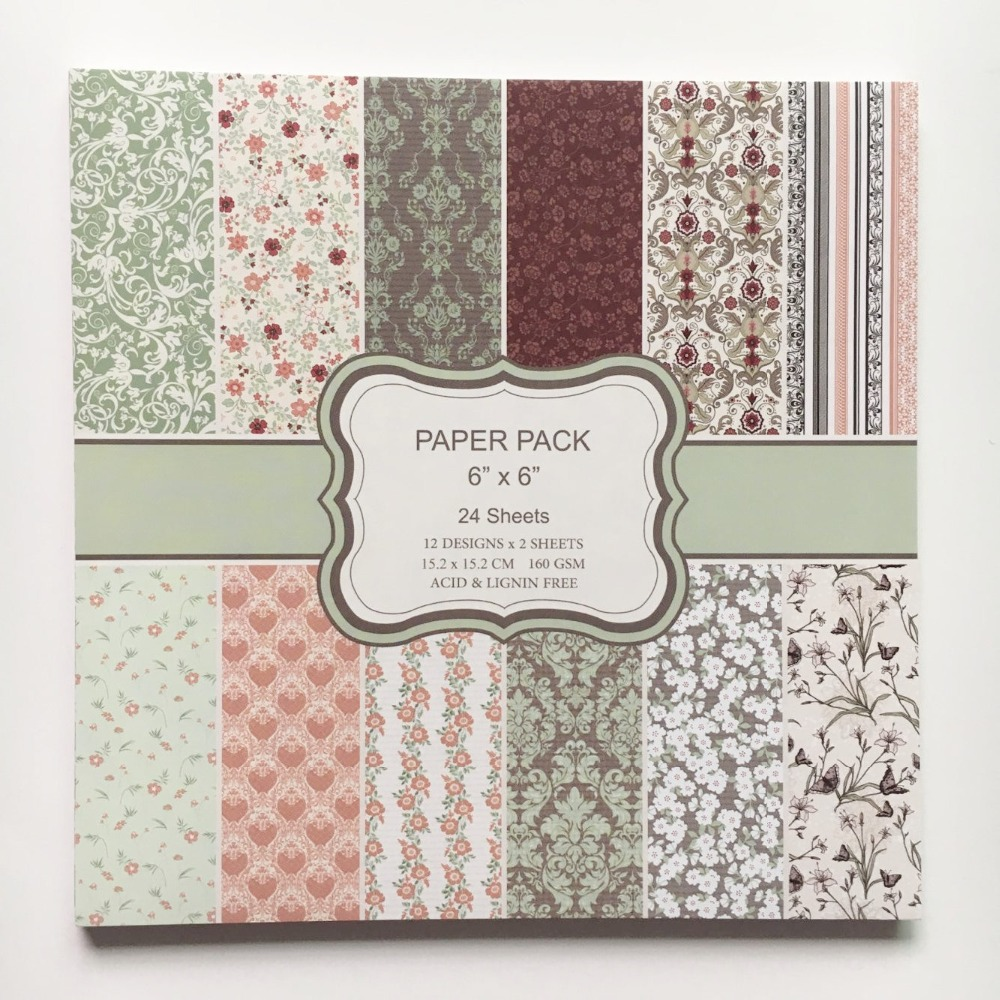 Scrapbook paper pads - New Style 6 Inch Handmade Card Paper Pads Colorful Floral Patterns 24sheets Diy Scrapbooking Paper Pack Paper Craft