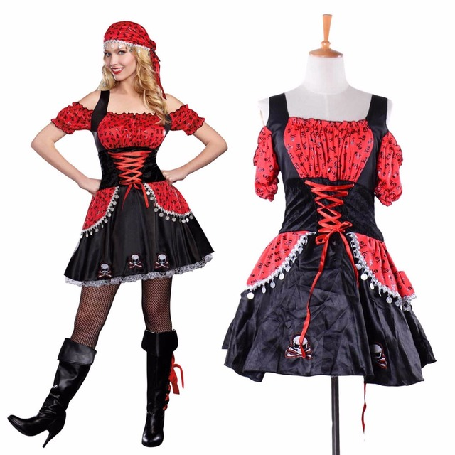 Adult Pirate Beauty Costume Rockinu0027 Skull Pirate Costume Deluxe Black and Red Roleplay Fancy Dress  sc 1 st  AliExpress.com & Adult Pirate Beauty Costume Rockinu0027 Skull Pirate Costume Deluxe ...