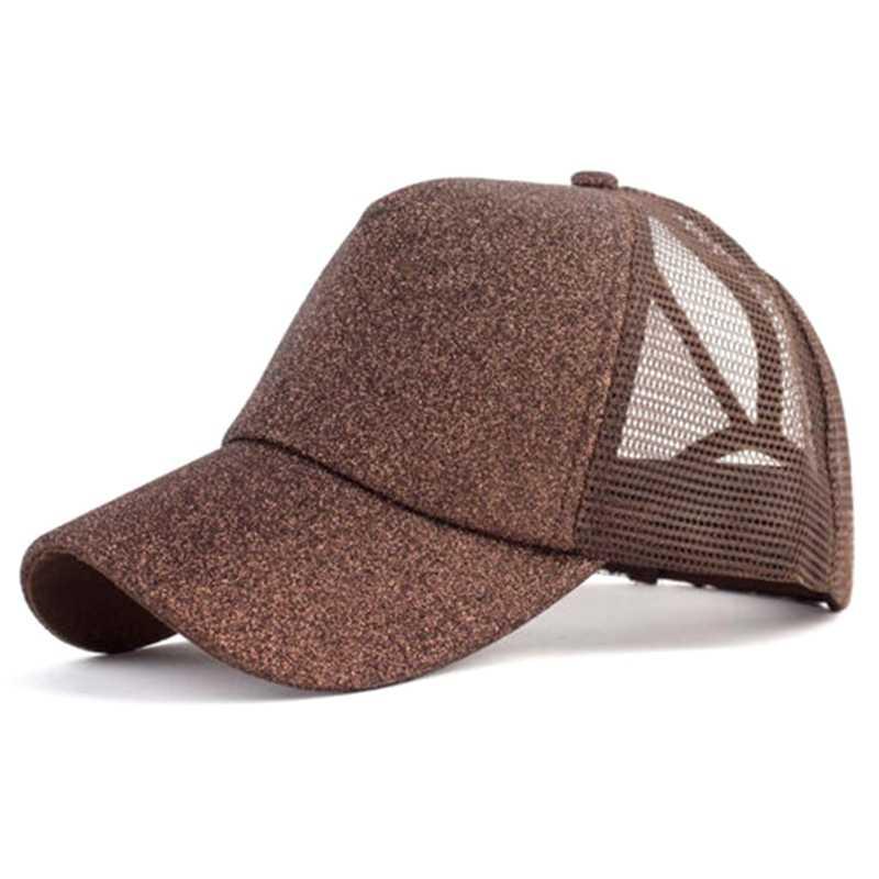 a8a56c62958 2019 Glitter Ponytail Baseball Cap Women Snapback Hat Summer Messy Bun Mesh  Hats Casual Adjustable Sport