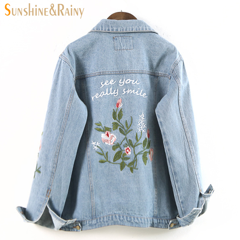autumn winter Fashion women floral embroidery jackets Jacket Zipper denim jeans Cartoon back wings outwear jeans jackets coats