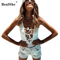 RealShe Lace Up Tie Front Bodysuit Women 2017 V Neck Sleeveless Knitted Jumpsuits Sexy Summer Beach Bodycon Womens White Pink