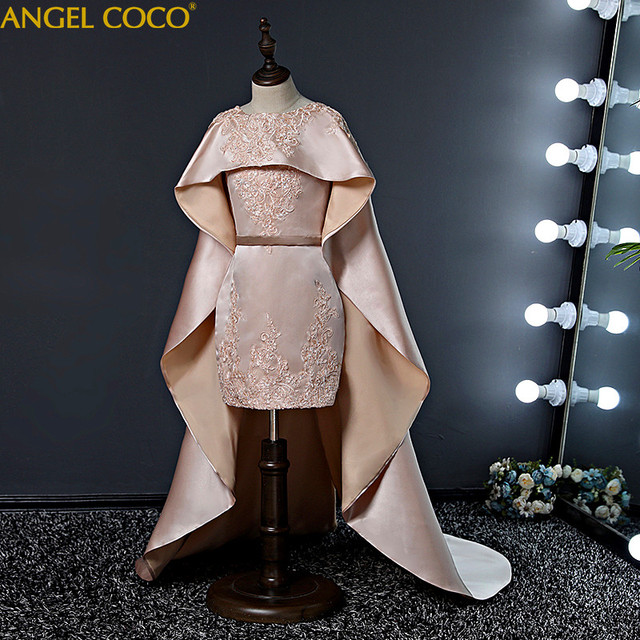 Catwalk Girls Evening Dress Trailing Children Host Car Model Evening Capes Cloak Princess Dubai Abaya Robe Fille Moroccan Kaftan
