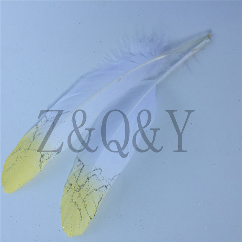 Z&Q&Y Natural Beautiful 20 15-20CM/6-8 Inch White Goose Feathers Dip Yellow Gold DIY Decoration Clothing Makeup Feather