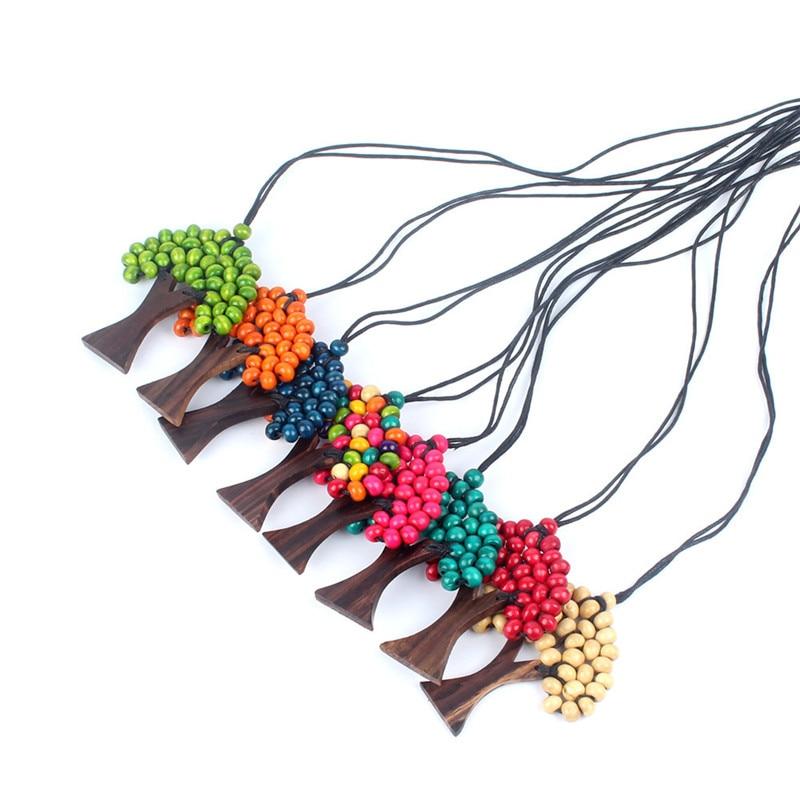 New Fashion Boho Ethnic Tree Necklace Rainbow Wooden Beads Pendant Necklace Handmade Long Statement Necklaces Jewelry