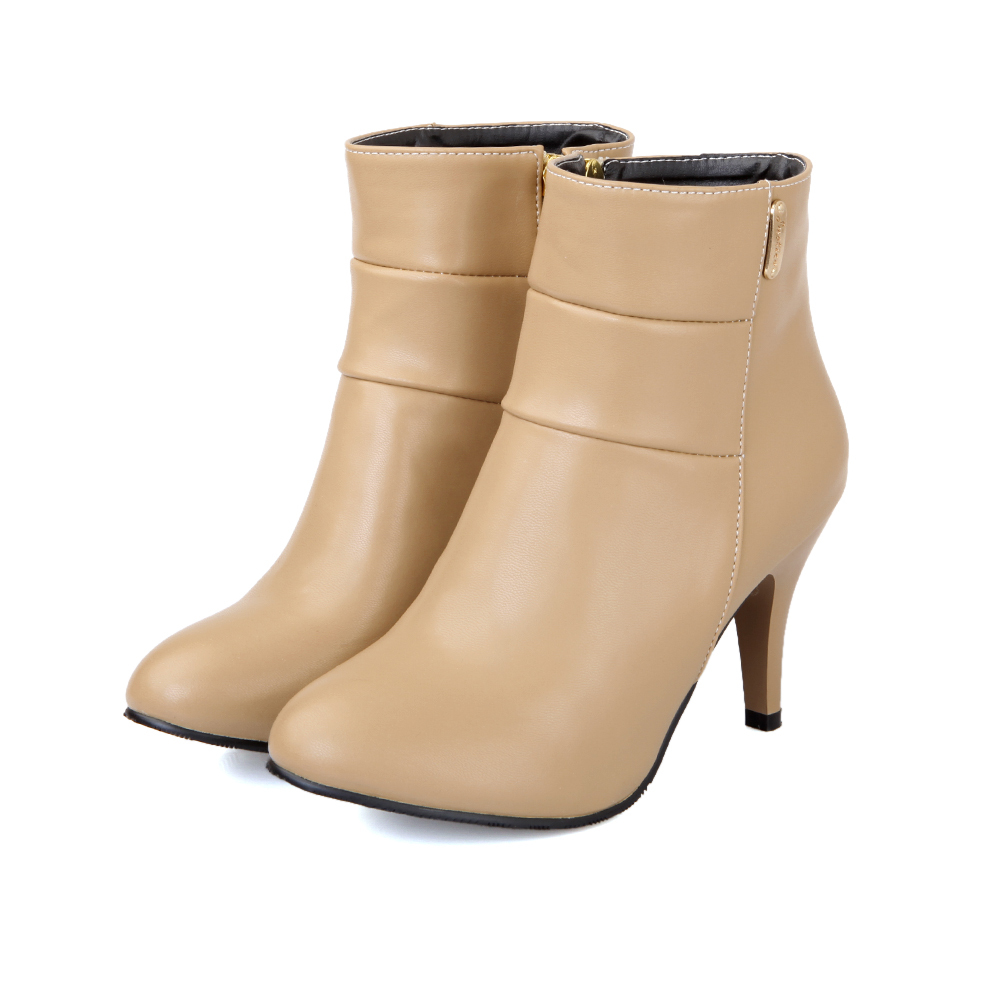 ФОТО New Autumn Black Apricot High Heels Women Nude Ankle Boots Solid Ladies Shoes A284 Comfortable Breathable Soft Leather