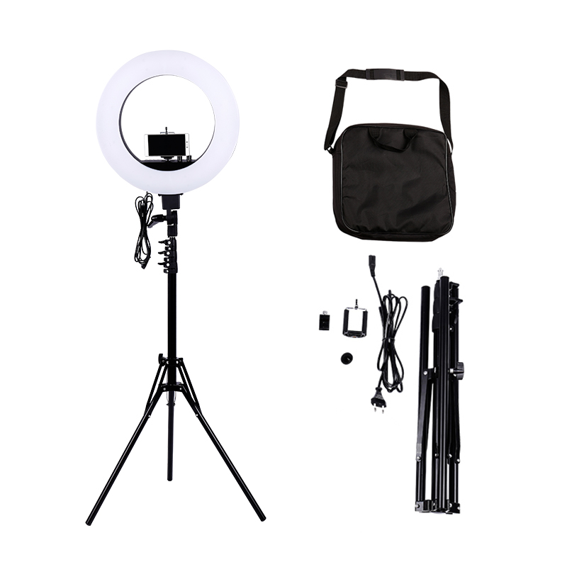Dimmable 18-Inch 5500K Stepless Adjustable Ring Light for Portrait,Photography YouTube Vine Video Shooting+ phone clamp +stand ...