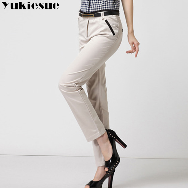 High waist trousers for women pants capri 2018 summer autumn OL office formal cotton pencil pants Women's suits Plus size...