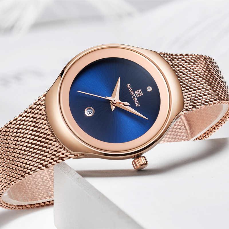Naviforce marca de luxo relógio moda feminina vestido quartzo senhoras aço cheio malha cinta à prova dlogiágua relógios relogio feminino