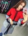 TAOVK 2016 de moda de nova estilo Rússia mulheres Outono/Inverno cardgians longa seção de bolso cor feitiço Bolso Da Pele Do Falso de pelúcia cardigan