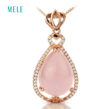 Natural rose quarts silver pendant, pears 13mm*18mm, lovely and warm pink color, pure and clean, elegant and fashion,top quality