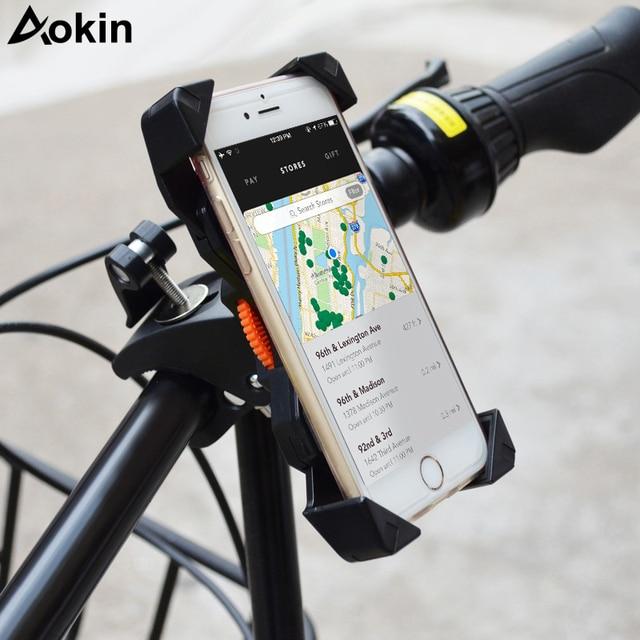 f31ef415f46 Aokin Bike Phone Holder Universal Anti-Slip Bicycle Holder Mount Bracket  Handlebar Clip For Smartphone