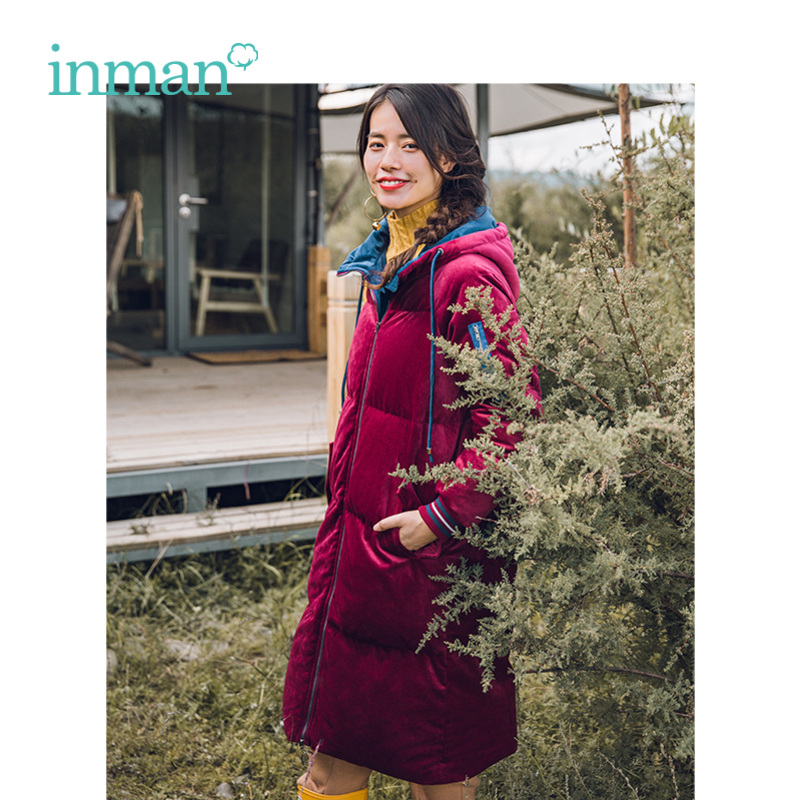 INMAN Winter New Arrival Female Contrast Color Hooded Warm Retro Long Section Women Down Coat
