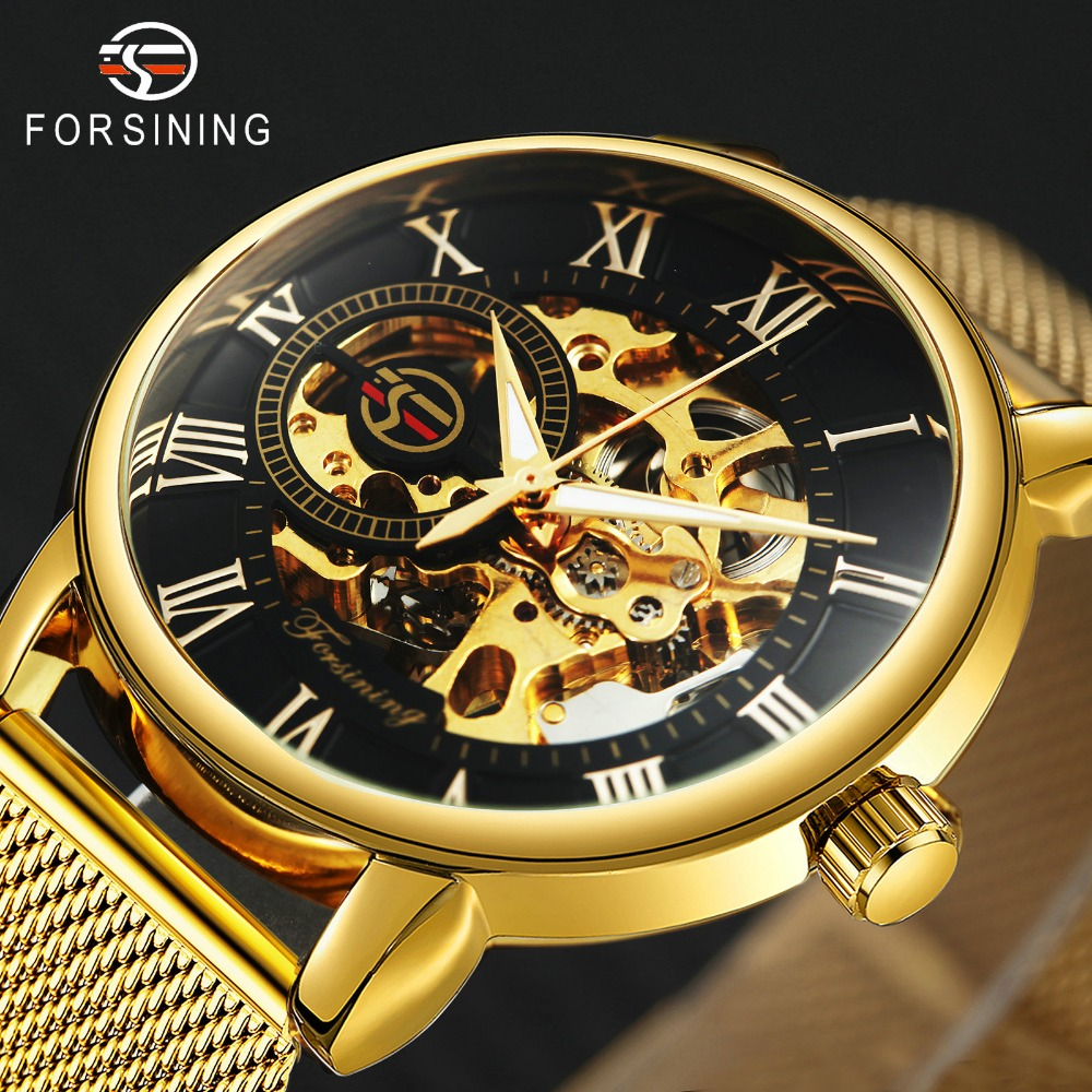 FORSINING Dress Fashion Men Mechanical Watch Mesh Strap Roman Number Skeleton Dial Top Brand Luxury Design Wrist Watches winner dress classic men automatic mechanical watch stainless steel strap blue roman number transparent case design wrist watch