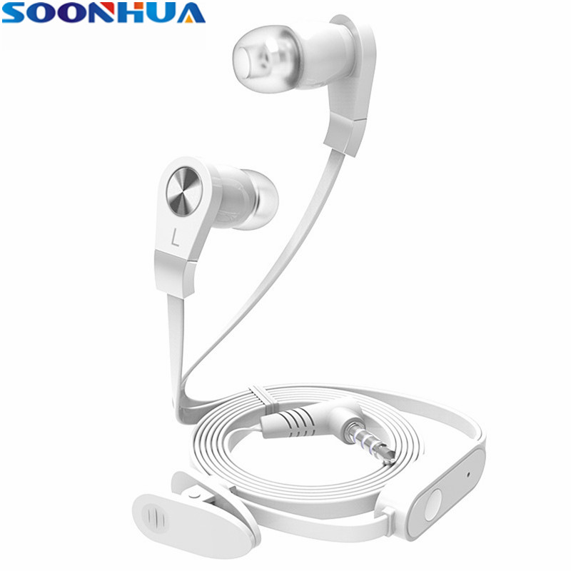 SOONHUA Flate Wire Earbuds Headphone Super Bass In-ear Earphone Stereo Sports Headset With Mic Universal for iPhone 6 6s Xiaomi