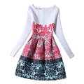 2017 New Children Cotton Long Sleeves Flowers Princess Dresses Casual Print Pattern Party Teenagers Girls Dress