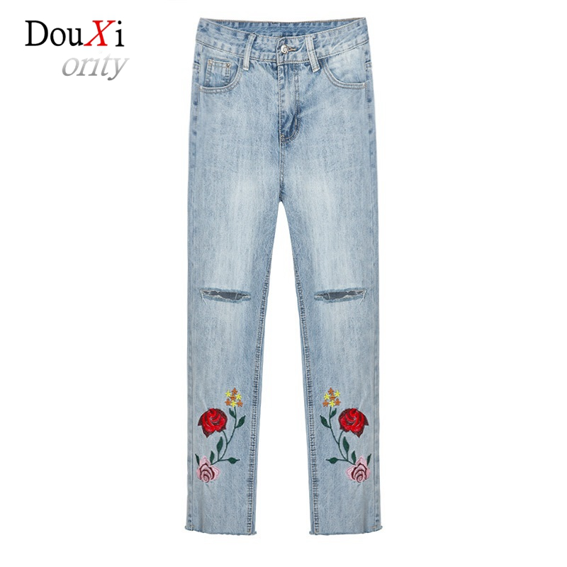 2017 Women Jeans Harem Pants Boyfriend BF Hole Ripped Embroidery Burr Jeans Casual Loose Ankle-length Denim Female Trousers pockets casual ankle length embroidery summer hole denim harem pants fashion floral jeans ripped jeans for women tt2395