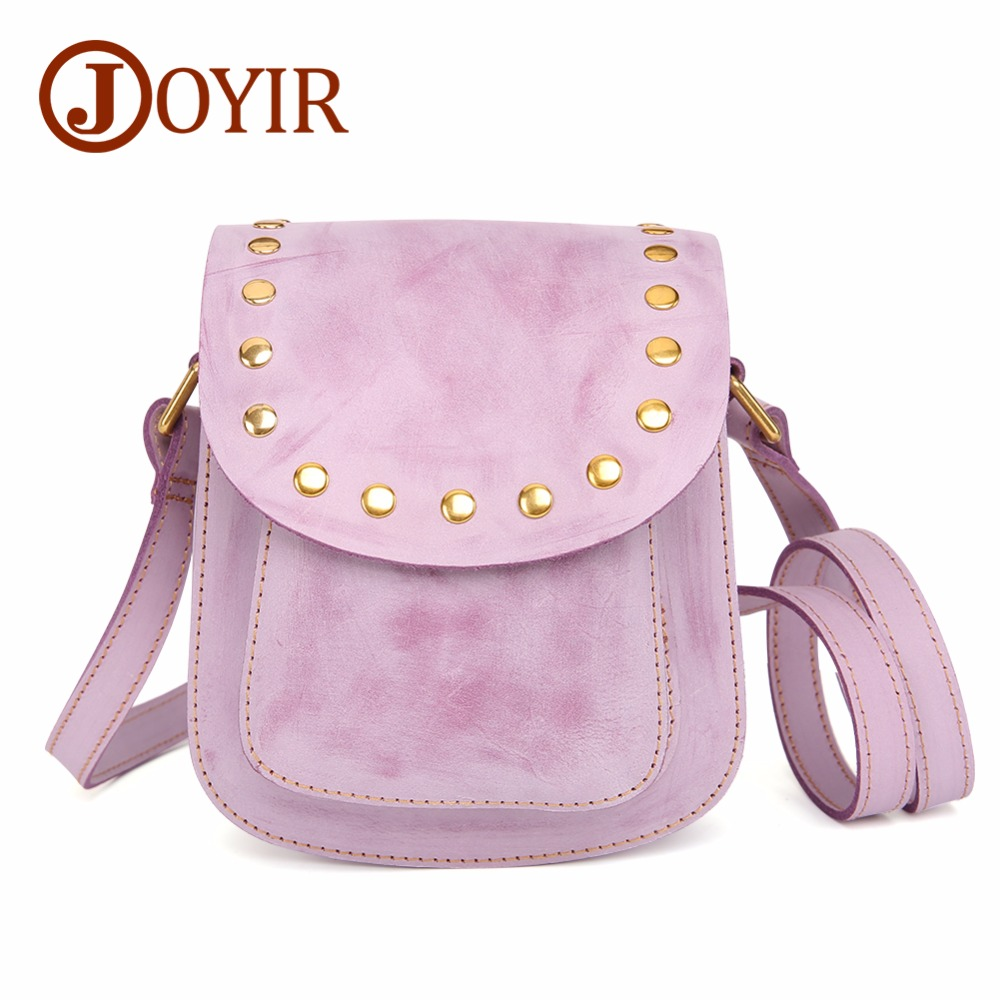 JOYIR Genuine Leather Crossbody Bags For Women Messenger Bags 2018 Fashion Rivet Leather Bags Handbags Women Small Shoulder Bags 2018 women bags handmade genuine leather small messenger crossbody bags embossed leather shoulder women bags day clutches