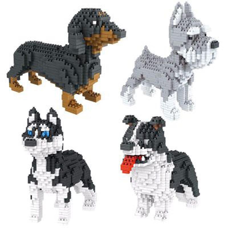 BS Beagle Hound Schnauzer Dachshund Sheepdog Dog Diamond Mini Building Blocks