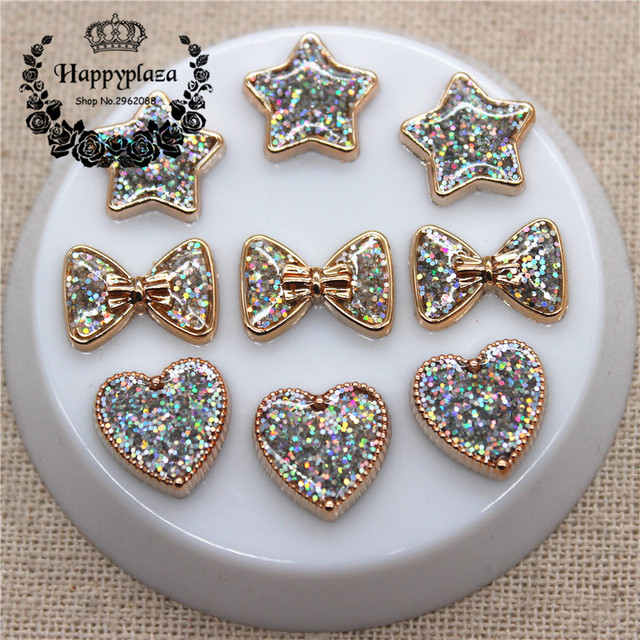 50PCS Glitter AB Golden Circle Heart/Star/Bow Plastic Flatback Button DIY Decoration Jewelry/Craft Accessories