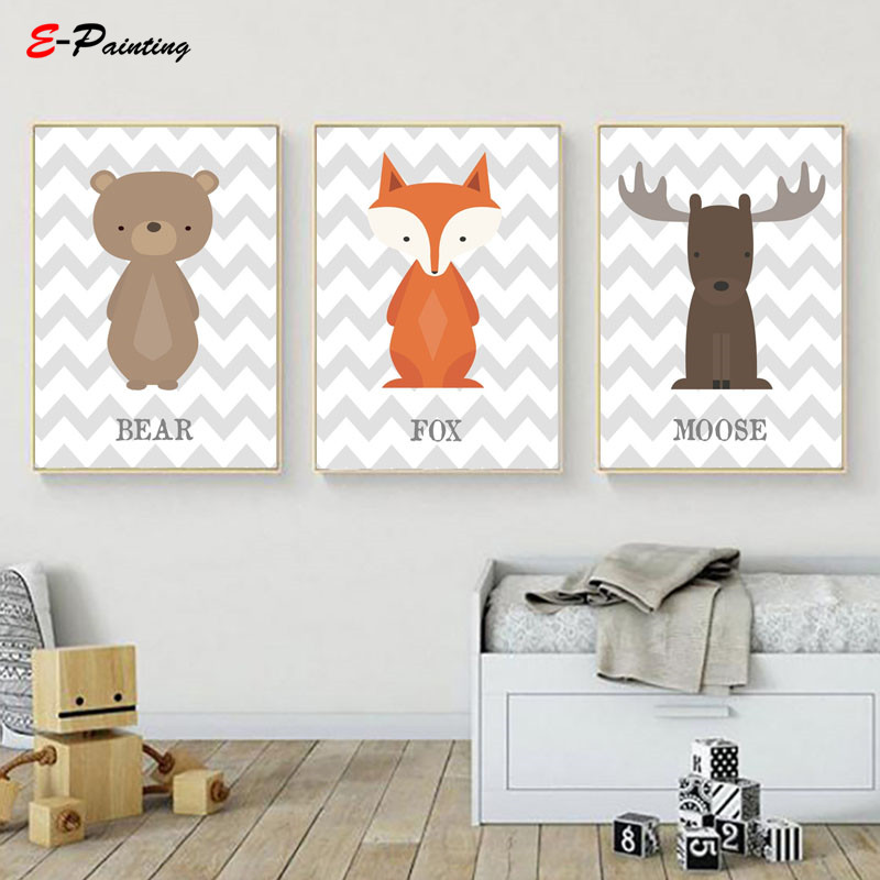 Us 3 75 25 Off Woodland Nursery Decor Wall Art Prints Brown Moose Cute Baby Animal Canvas Painting Poster Kid Bedroom Picture In
