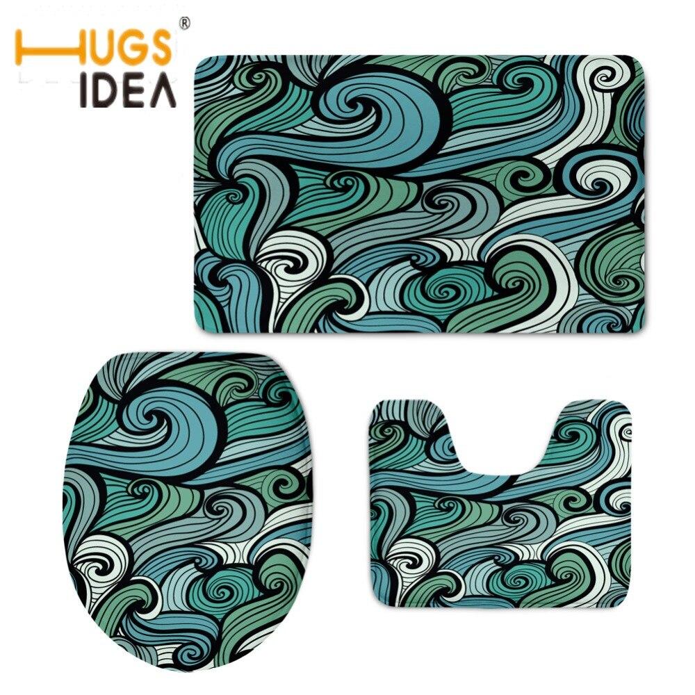 Hugsidea Fashion Paisley Design Bathroom Mats 3pcs Set Wc