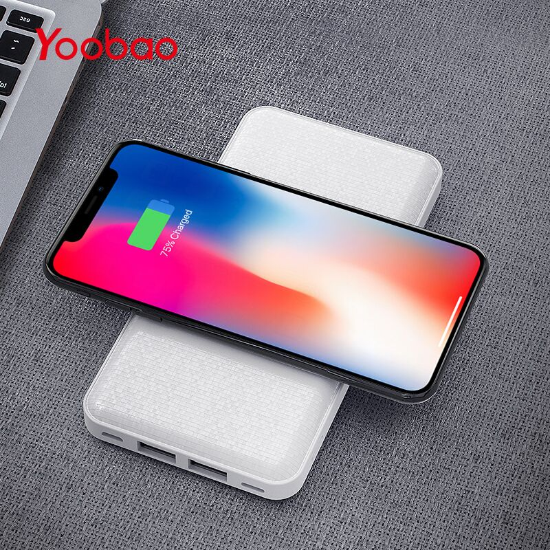 Yoobao W5 Wireless Charger 5000Amh Power Bank with Portable Dual Qi Wireless Charging for iPhone X 8 Plus Samsung Note 8 S8 writing