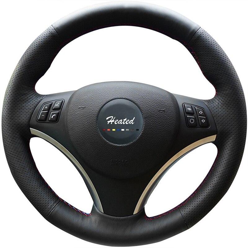 Braid on Steering Wheel Cover for BMW E90 320i 325i 330i 335i E87 120i 130i 120d Accessories Parts Tampa do volante do carro