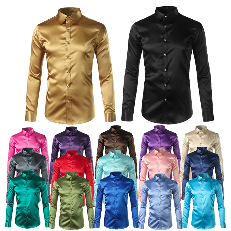 Silk Shirt Men 2017 Satin Smooth Men Solid Tuxedo Shirt Business Chemise Homme Casual Slim Fit Shiny Gold Wedding Dress Shirts