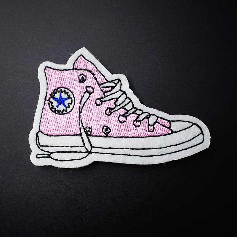 Shoe 5.0x8.0cm DIY Cloth Badge Patches Clothing Cartoon Patch Fabric Sewing Embroidered Applique Jacket Jeans Clothing Badges