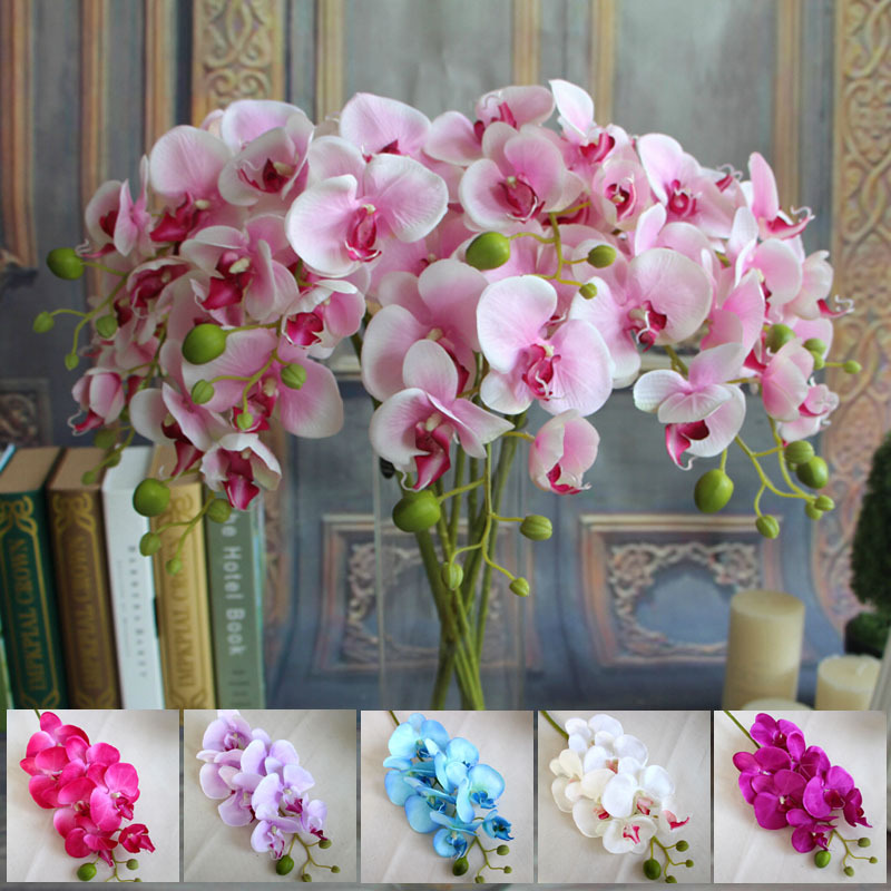 Wholesale 78cm Artificial Silk Butterfly Orchids Home Wedding Table Decorative Silk Flowers 6