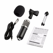Professional Handheld Condenser Microphone Computer Microphone Stand Tripod Wired 3.5mm Jack For Recording Studio Round Flat dagee dg 001mic universal 3 5mm jack wired nylon housing microphone for pc black 200cm