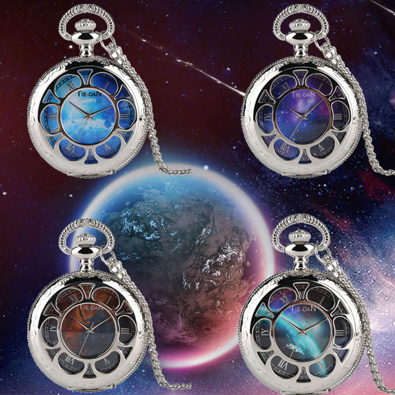 4 Types Unique Starry Sky Earth Pattern Route Map Blue Meteorite Quartz Pocket Watch Necklace Silver Pendant Top  Souvenir Gifts