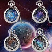 4 Типа Уникальных Звездное Небо Картины Земли Карта Маршрута Голубой Метеорит Кварцевые Карманные Часы Ожерелье Серебро Кулон Лучшие Подарки Сувенира