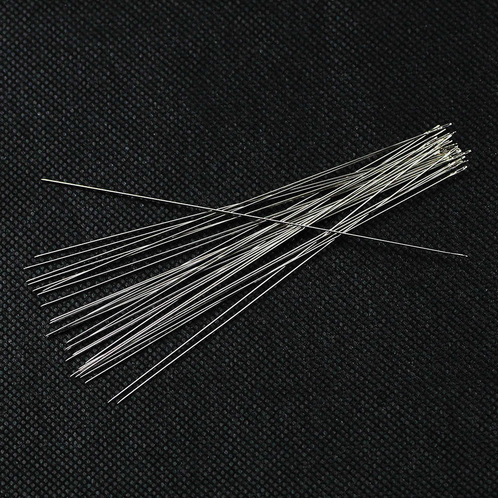 BTFBES 30pcs Stainless Steel Beading Needles Silver Beaded pin beads Threading String Tambour for Jewelry bracelet making DIY