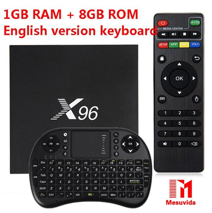 Mesuvida S905X X96 TV Box Amlogic Quad Core 2.4 GHz WiFi HDMI2.0 con AV USB LAN