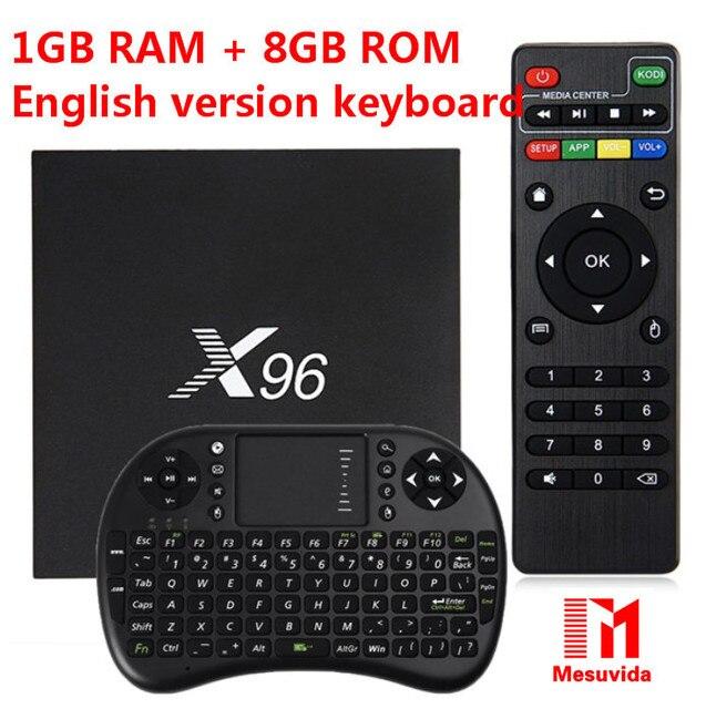 S905X X96 TV Box Amlogic Quad Core 2.4 GHz WiFi HDMI 2.0 con Ranura Para Tarjeta TF USB 2.0 AV LAN Smart Media Player Set-top Box