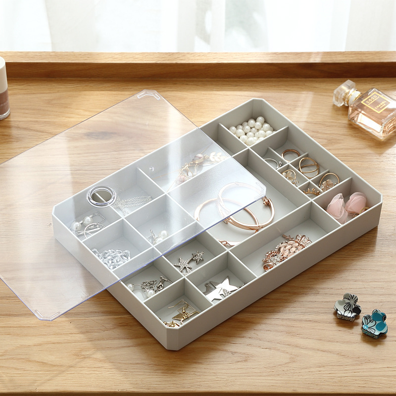 1 Pcs Simple Multi grid Jewelry Storage Box For Jewelry Storage Finishing With Lid Visible Square Earrings Ring Box-in Storage Boxes & Bins from Home & Garden