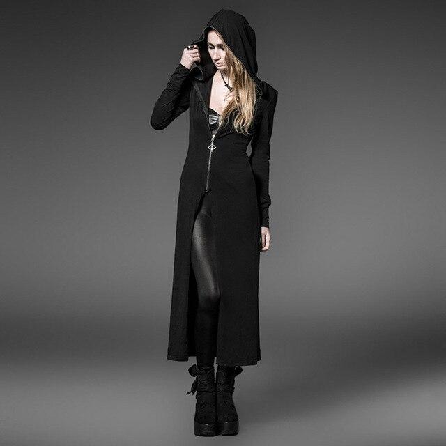 Punk Rave готический стиль черный длинные пальто с длинным шляпы ведьм PY-046
