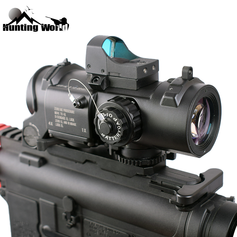 Tactical 1-4x Magnifier Scope Sight Prism Riflescope With RMR Red Dot Optical Sight Collimator Sight For Hunting Rifle Accessory