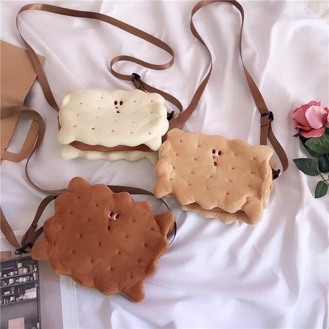 Japão Estilo Forma Do Bolinho de Pelúcia Bolsa de Ombro Crossbody Bag Coreano Outono Inverno Engraçado Celular Fofo Lolita Bonito Pacote de Presentes