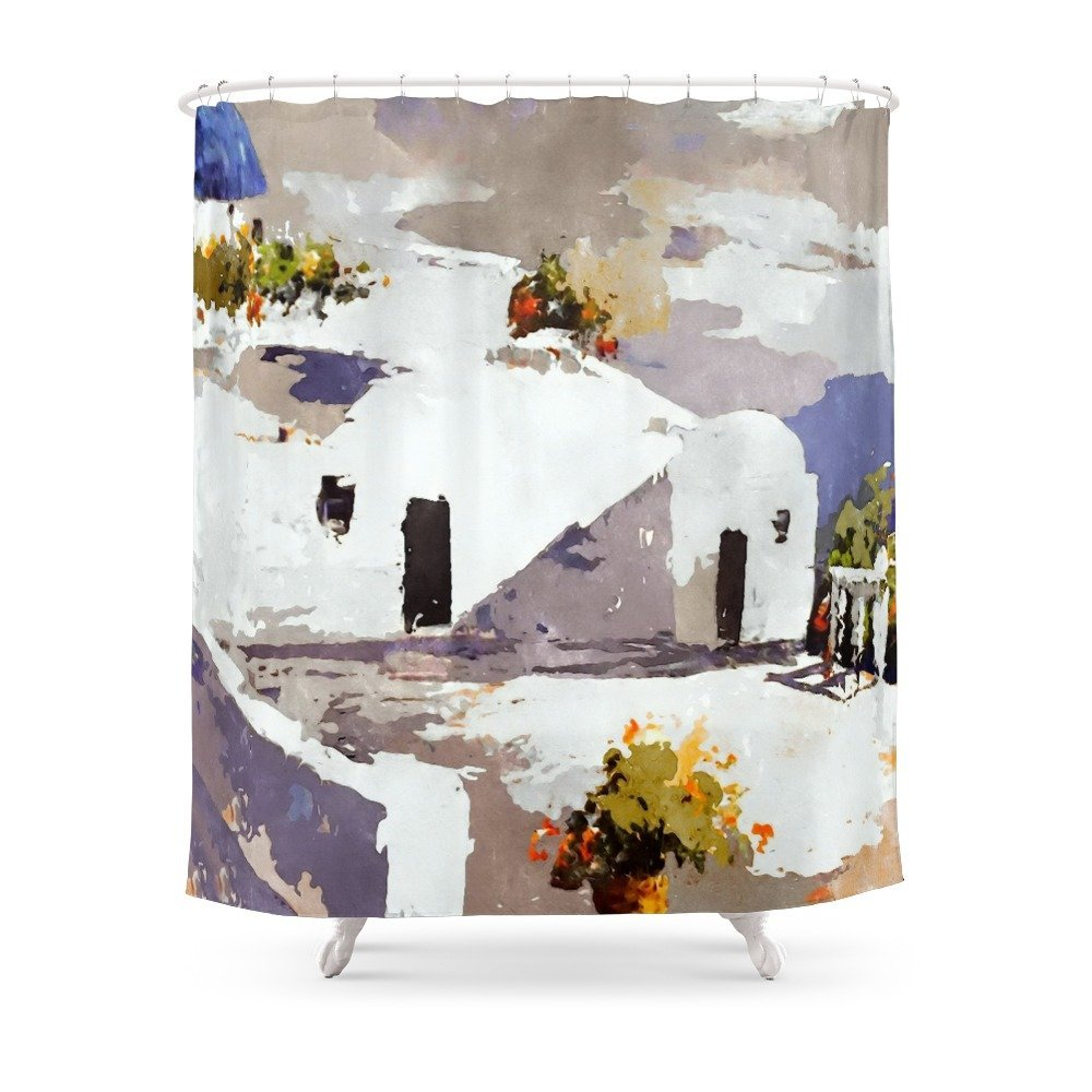 Greek Island Patio Scene Shower Curtain Set Waterproof Bath Curtain For Bathroom With Non-slip Floor Mat image