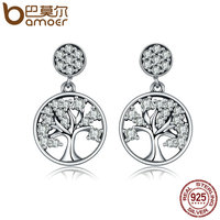 BAMOER Genuine 100 925 Sterling Silver Tree Of Life AAA Zircon Stud Earrings For Women Sterling