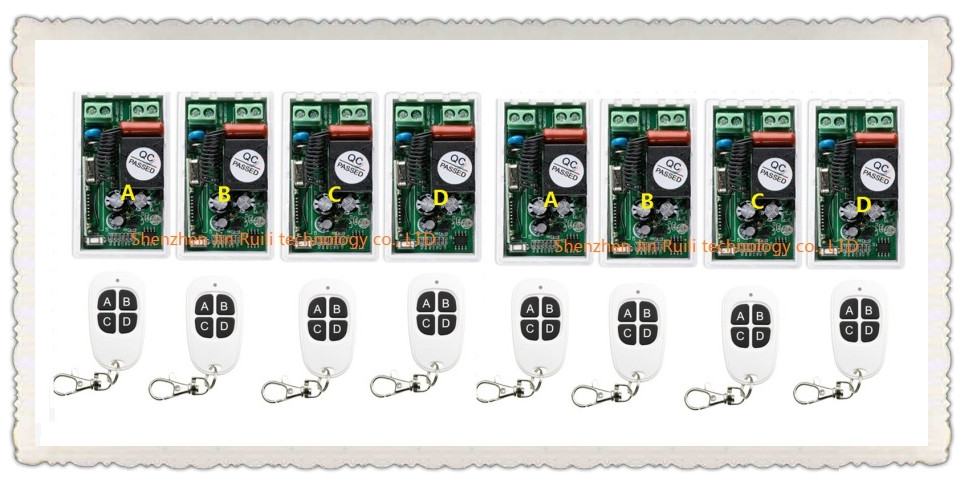 ФОТО AC 220V 1 CH RF Wireless Remote Control Switch 8pcs receiver + 8pcs transmitter Simple connection home appliances/lamp JRL-2203