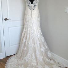 BRITNRY Champagne Mermaid Wedding Dresses Lace V Neck