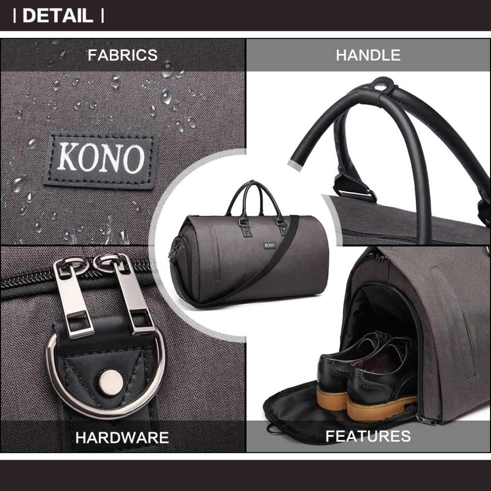 1e2c48b54349 Kono Convertible Garment Bag Multifunctional Travel Duffel Storage Bag  Large Capacity Men Women Grey Handbag Shoulder Bag YD1918