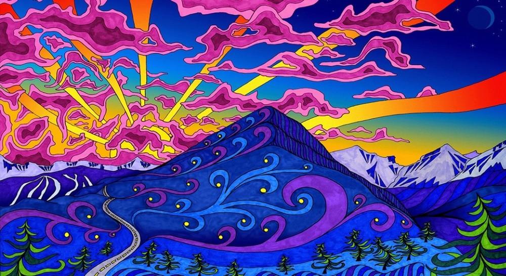 """Психоделический пористых естественный цвет Картина фэнтези украшения ткани плакаты 43x24 """"24x13""""-061"""