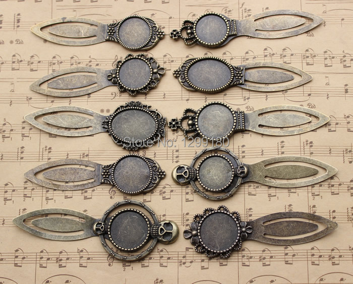 10pcs/lot Mix Fashion Zinc Alloy Retro Bronze Bookmarks with Frame Bezel Setting DIY Handmade Jewelry Accessories K01758 retro feather style zinc alloy keychain bronze
