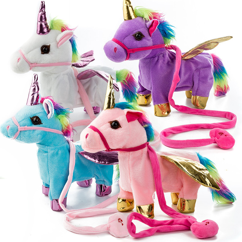 Hot Electric Soft Stuffed Animal Doll Electronic Music Unicornio Party Walking Unicorn Plush Toy for Children Christmas Gifts