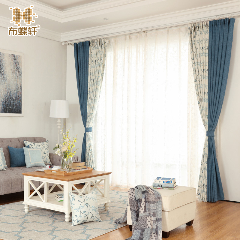 Korean Pastoral Blue Linen-Like Panel High Quality Jacquard Leaves Curtain Grommets Window Curtain Set For Living Room Kitchen